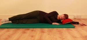 Lying on side, both legs long in line with your body, at start of movement