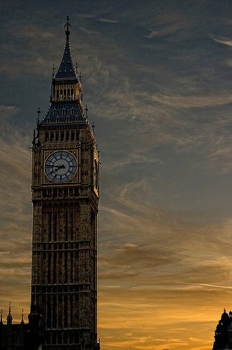 Big Ben at sunset, by Stefano Guidici at http://www.flickr.com/photos/slacabos/