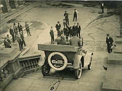 1920s car drives down Sydney Town Hall steps, from Flickr